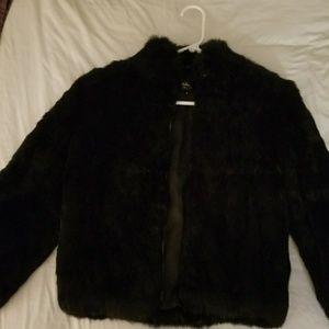 Jackets & Blazers - Vintage Black Rabbit Fur Jacket